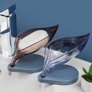 2020 New Leaf Soap Storage Rack V-Shaped Drain Design Soap Box Organize Non-Perforated Soap Shelf Bathroom Kitchen Accessories
