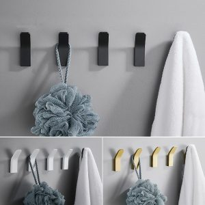 Perforated Black-Free Clothes Hooks Alumimum White Wall Hanging for Bathroom Bedroom Modern Wall Hanger Hook Bath Accessories