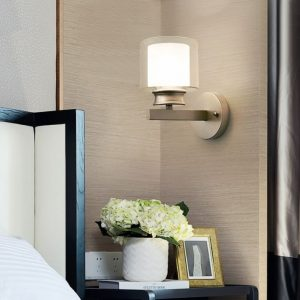 Bedroom bedside wall lamp modern minimalist living room study LED TV wall lamp glass lampshade aisle lamp atmosphere