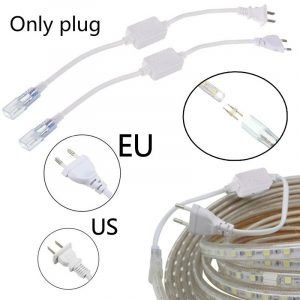 2pin Cable Strip Light 5050 2835 3014 5630 SMD 6mm Light Bar Plug LED Lamp Belt Plug Accessories US/EU Plug With Needle 220V-240