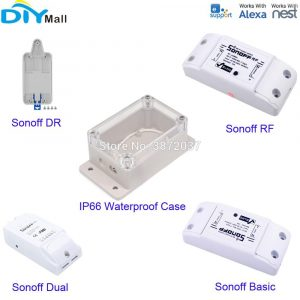 Sonoff Dual RF Basic DR Tray Wifi Switch IP66 Waterproof Case Smart Home Automation for Android IOS APP Amazon Alexa Google Nest